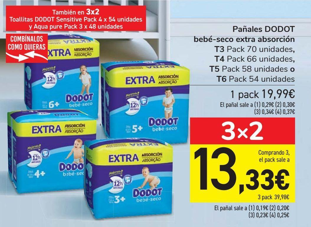 Oferta de Pañales DODOT bebé-seco extra absorción por 19,99€