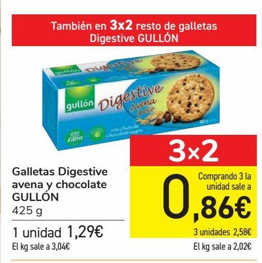 Oferta de Galletas Digestive avena y chocolate GULLÓN por 1,29€