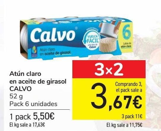 Oferta de Atún claro en aceite de girasol CALVO por 5,5€