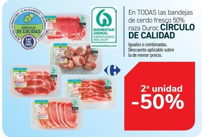 Oferta de En TODAS las bandejas de cerdo fresco 50% raza Duroc CÍRCULO DE CALIDAD por