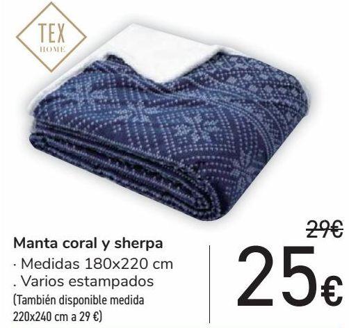 Oferta de Manta coral y sherpa  por 25€