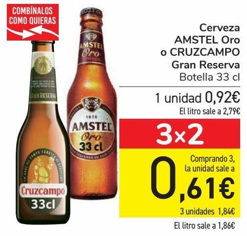 Oferta de Cerveza AMSTEL Oro o CRUZCAMPO Gran Reserva  por 0,92€