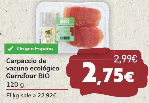 Oferta de Carpaccio de vacuno ecológico Carefour BIO  por 2,75€