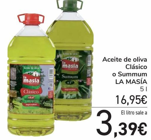 Oferta de Aceite de oliva Clásico o Summum LA MASÍA por 16,95€