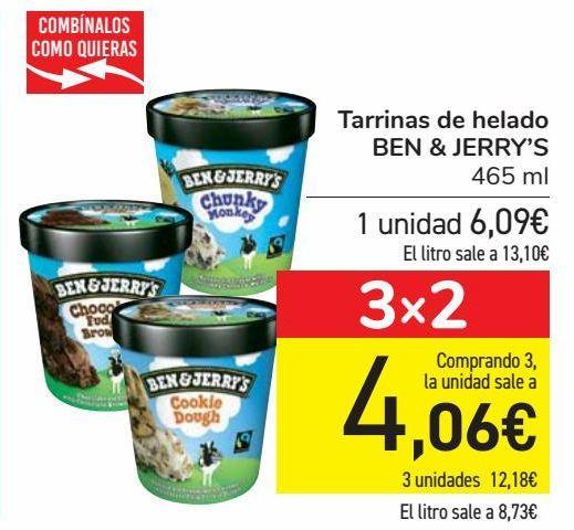 Oferta de Tarrinas de helado BEN & JERRY'S  por 6,09€