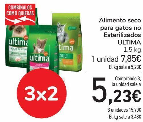 Oferta de Alimento seco para gatos no Esterilizados ULTIMA  por 7,85€