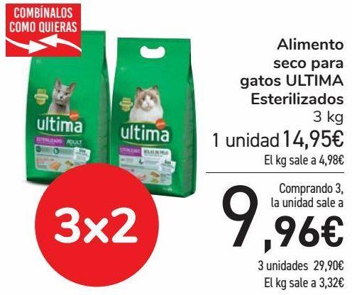 Oferta de Alimento seco para gatos ULTIMA Esterilizados  por 14,95€