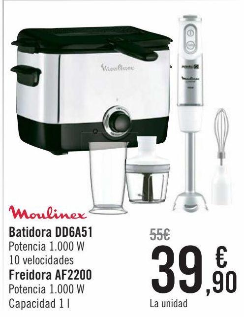 Oferta de Moulinex Batidora DD6A51. Freidora AF2200 por 39,9€
