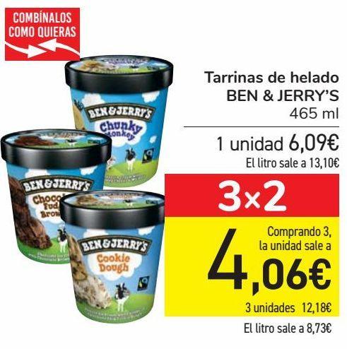 Oferta de Tarrinas de helados BEN & JERRY'S  por 6,09€