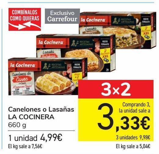 Oferta de Canelones o lasaña LA COCINERA  por 4,99€