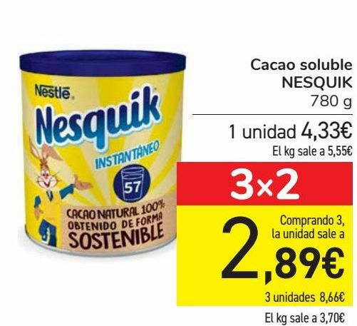 Oferta de Cacao soluble NESQUIK  por 4,33€