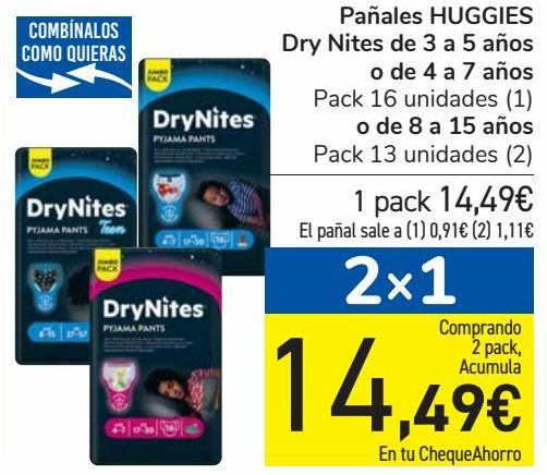 Oferta de Pañales HUGGIES Dry Nites de 3 a 5 años o de 4 a 7 años o de 8 a 15 años por 14,49€