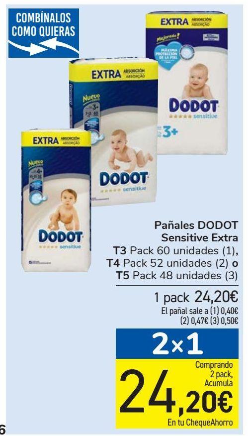 Oferta de Pañales DODOT Sensitive Extra por 24,2€