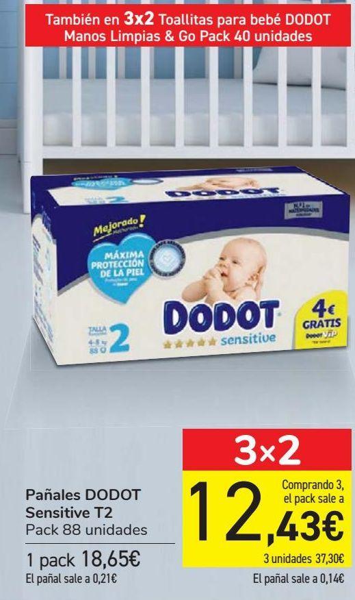 Oferta de Pañales DODOT Sensitive T2  por 18,65€