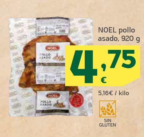 Oferta de NOEL pollo asado, 920 g por 4,75€