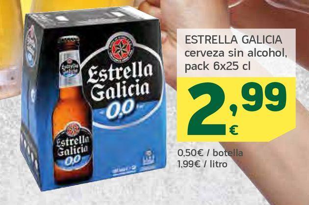 Oferta de ESTRELLA GALICIA cerveza sin alcohol, pack 6x25 cl por 2,99€