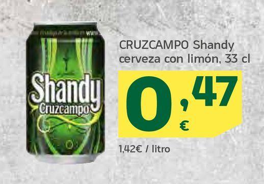 Oferta de CRUZCAMPO Shandy cerveza con limón, 33 cl por 0,47€