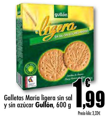 Oferta de Galletas María ligera sin sal y sin azúcar Gullón por 1,99€