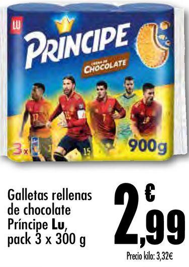 Oferta de Galletas rellenas de chocolate Príncipe Lu por 2,99€