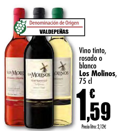 Oferta de Vino tinto, rosado o blanco Los Molinos por 1,59€