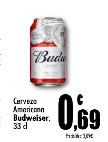 Oferta de Ccerveza americana Budweiser por 0,69€