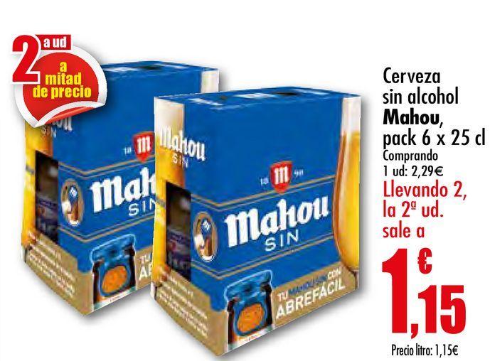 Oferta de Cerveza sin alcohol Mahou por 2,29€