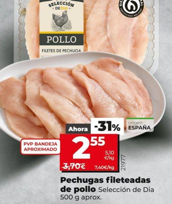 Oferta de Pechuga fileteadas  de pollo por 2,55€