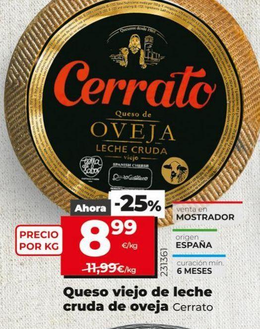 Oferta de Queso viejo de leche cruda de oveja Cerrato por 8,99€