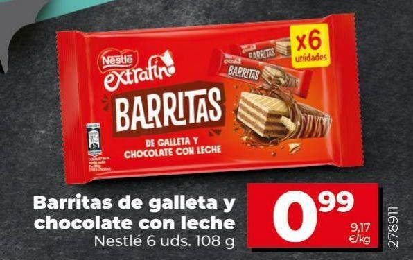 Oferta de Barritas de galletas y chocolate con leche Nestlé por 0,99€