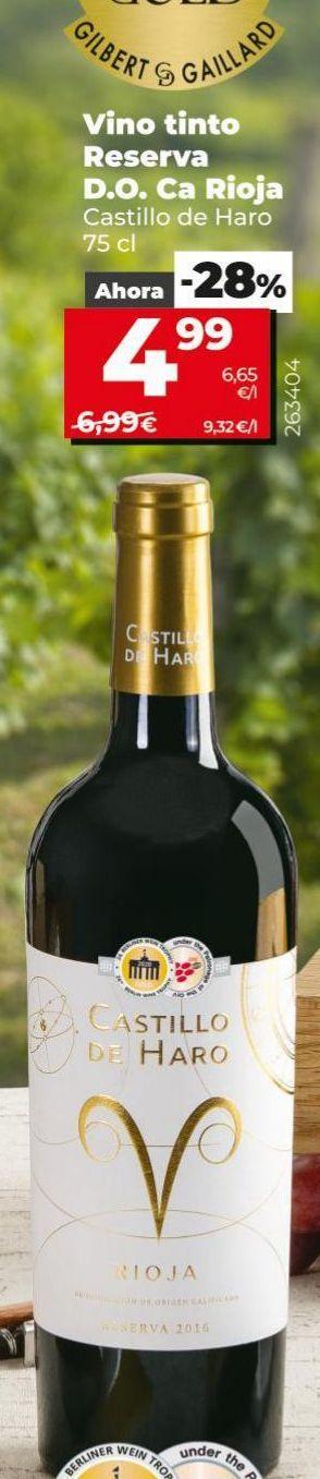 Oferta de Vino tinto reserva Castillo de Haro por 4,99€