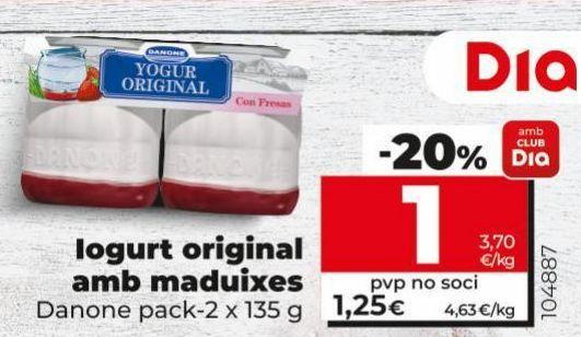 Oferta de Yogur original Danone por 1€