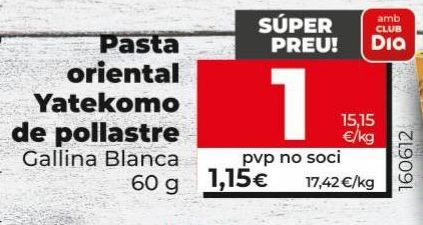 Oferta de Pasta oriental Yatekomo de pollo Gallina Blanca por 1€