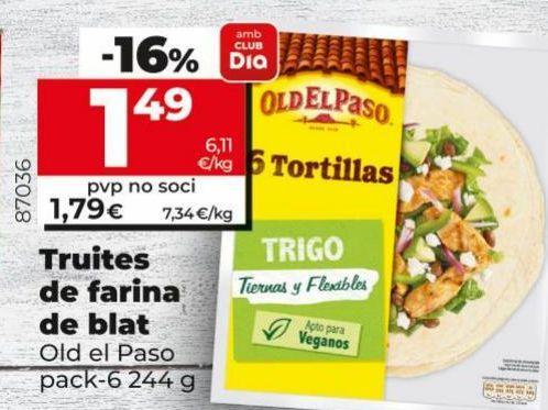 Oferta de Tortilla de harina de trigo Old El Paso por 1,49€