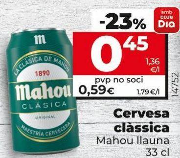 Oferta de Cerveza clásica Mahou por 0,45€