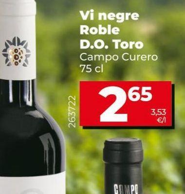 Oferta de Vino tinto Roble D.O. Toro Cmpo curero  por 2,65€