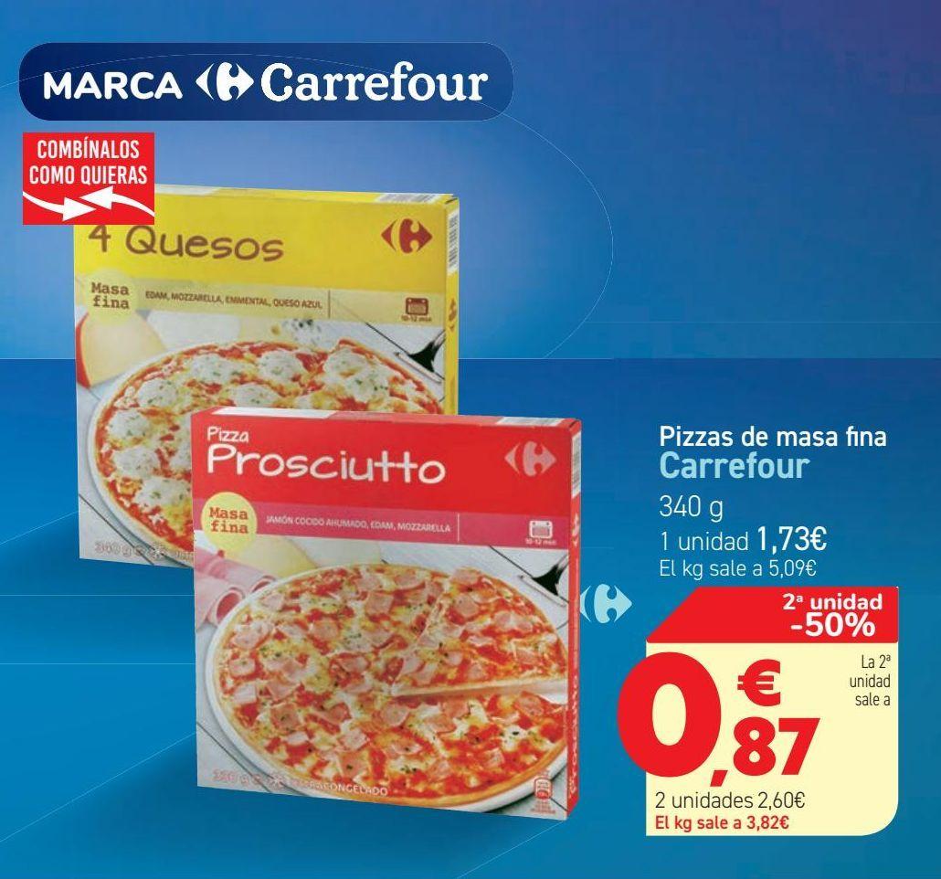 Oferta de Pizzas de masa fina Carrefour  por 1,73€