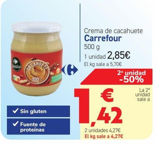 Oferta de Crema de cacahuete Carrefour por 2,85€
