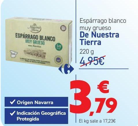 Oferta de Espárrago blanco muy grueso De Nuestra Tierra por 3,79€