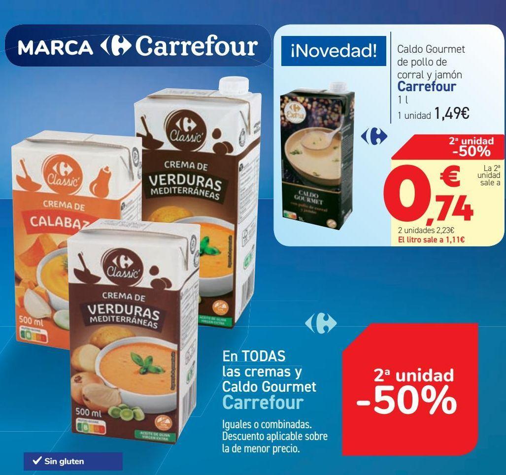 Oferta de En TODAS las cremas y Caldo Gourmet Carrefour por