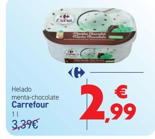 Oferta de Helado menta-chocolate Carrefour  por 2,99€