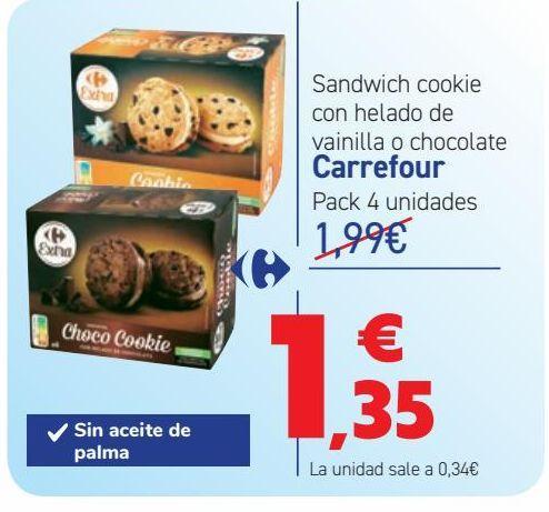 Oferta de Sandwich cookie con helado de vainilla o chocolate Carrefour por 1,35€