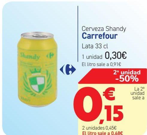 Oferta de Cerveza Shandy Carrefour  por 0,3€