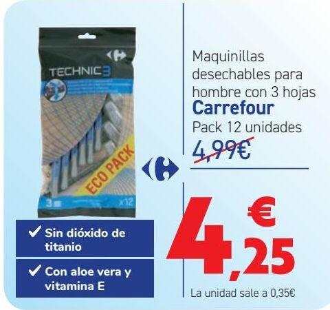 Oferta de Maquinillas desechables para hombre con 3 hojas Carrefour  por 4,25€