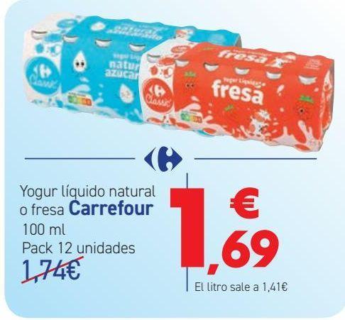 Oferta de Yogur líquido natural o fresa Carrefour  por 1,69€