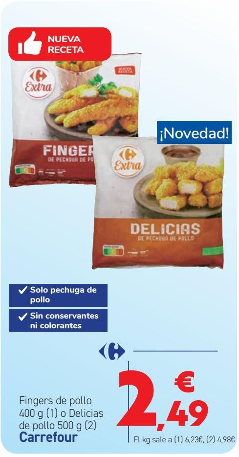 Oferta de Fingers de pollo o Delicias de pollo Carrefour por 2,49€