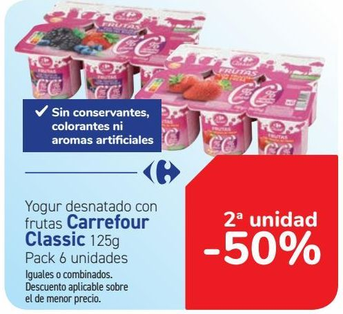Oferta de Yogur desnatado con frutas Carrefour Classic  por