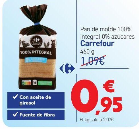 Oferta de Pan de molde 100% integrales 0% azúcares  por 0,95€