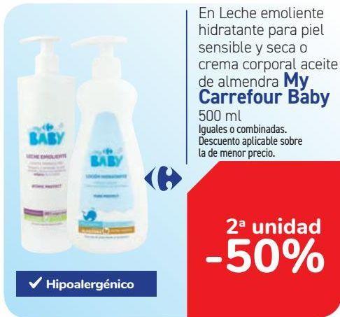 Oferta de En leche emoliente hidratante para piel sensible y seca o crema corporal aceite de almendra My Carrefour Baby  por