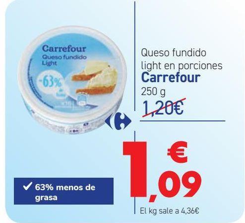 Oferta de Queso fundido light en porciones Carrefour por 1,09€