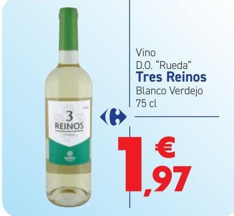 Oferta de Vino D.O. ''Rueda'' Tres Reinos Blanco Verdejo  por 1,97€